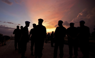 silhouettes of U.N. peacekeepers from Brazil at the airport in Port-au-Prince, Haiti