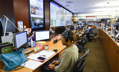 Personnel at the The Centers for Disease Control and Prevention (CDC) work the Emergency Operations Center