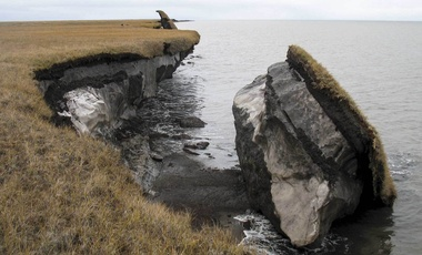 a collapsed block of ice-rich permafrost along Drew Point, Alaska