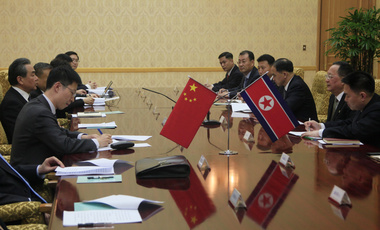 North Korean Foreign Minister Ri Yong Ho, second right, meets with Chinese Foreign Minister Wang Yi