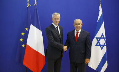 French Finance Minister Bruno Le Maire welcomes Israel's Prime Minister Benjamin Netanyahu