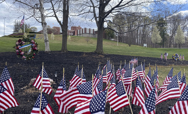 Flags and wreaths honor veterans