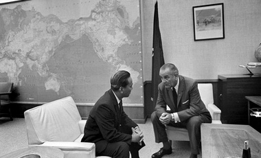 President Lyndon Johnson and South Vietnamese President Nguyen Van Thieu, left, talk at Pacific Command Headquarters in Honolulu