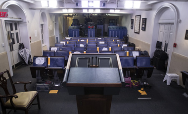 lectern in the white house briefing room
