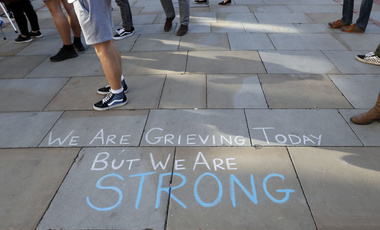 message written on the pavement in Manchester, England
