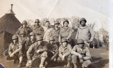 Author Nicholas Burns' uncle Bob Mills of Auburn, Massachusetts, farthest left, parachuted into Normandy on D-Day.