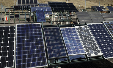 Solar panels at the National Renewable Energy Laboratory gather sunlight at the test facility