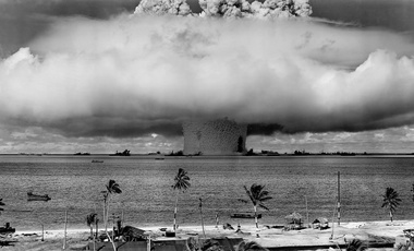A US nuclear test at Bikini Atoll in the 1940s.