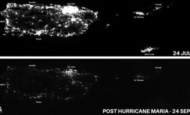 The power grid of Puerto Rico before and immediately Hurricane Maria.