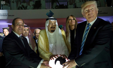 Egyptian President Abdel Fattah al-Sissi, Saudi King Salman, Melania Trump and Donald Trump, visit a new Global Center for Combating Extremist Ideology