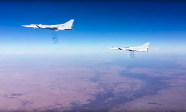 Russian bombers targeting ISIS around Deir el-Zour