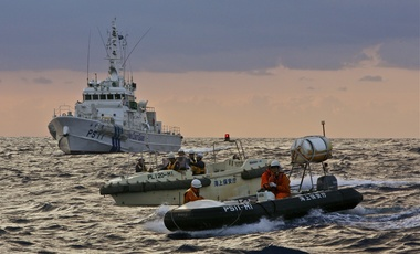 Japanese Coast Guard vessel and Taiwanese fishing and Coast Guard vessels
