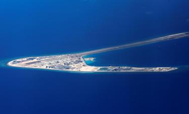 Chinese structures and an airstrip on the man-made Subi Reef