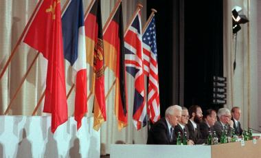 Soviet foreign minister Eduard Shevardnadze, French foreign minister Roland Dumas, GDR foreign minister Markus Meckel, Federal Germany foreign minister Hans-Dietrich Genscher, UK foreign minister Douglas Hurd, and U.S. foreign minister James Baker pictured on the podium at the first 'Two Plus Four' conference in Bonn, Germany, 05 May 1990. It was the first meeting on the way to the Two Plus Four Agreement between the two Germanies and the Four Powers that agreed on the Reunification of Germany.