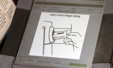 touch screen of a voting machine