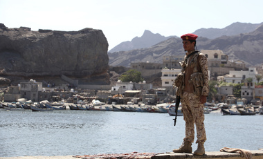 Yemeni soldier stands guard
