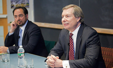 "Ambassador Salahuddin Rabbani, Chairman, High Peace Council of Afghanistan and •	Ambassador Jim Warlick, U.S. Deputy Representative for Afghanistan and Pakistan open the ""Future of Afghanistan"" conference on April 4, 2013 at the Harvard Kennedy School."
