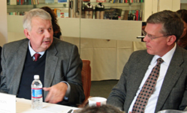 "Principal Partners: Sergei Rogov (left), director of the Institute for U.S. and Canadian Studies at the Russian Academy of Sciences, speaks on ""Russian-American Reset, START and WMD"" at a Belfer Center directors' seminar in the fall."