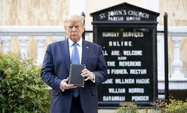 President Donald J. Trump walks from the White House Monday evening, June 1, 2020, to St. John's Episcopal Church that was damaged by fire during demonstrations in nearby LaFayette Square Sunday evening.