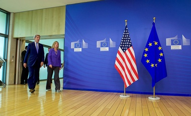 U.S. Secretary of State John Kerry walks with European Union High Representative for Foreign Affairs Federica Mogherini at the Berlaymont Building - the headquarters of the European Commission - in Brussels, Belgium, on June 27, 2016.