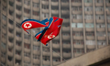 North Korean flags in Pyongyang.