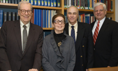 Belfer Center founder Paul Doty (left), with colleagues (left to right) Dorothy Zinberg, Michael Nacht, and Albert Carnesale at Founders Day celebration 2006.