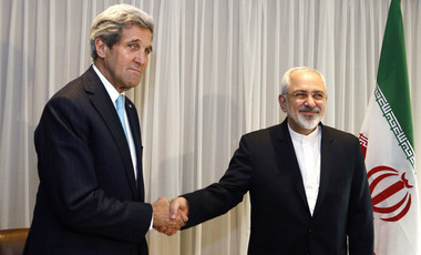 Secretary of State Kerry shakes hands with Iranian Foreign Minister Zarif