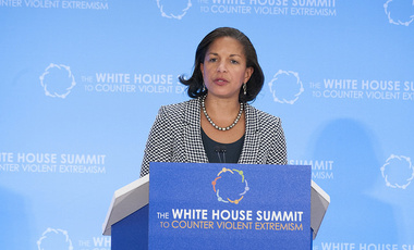U.S. National Security Advisor Susan Rice delivers closing remarks during the the White House Summit to Counter Violent Extremism, at the U.S. Department of State in Washington, D.C., on February 19, 2015.
