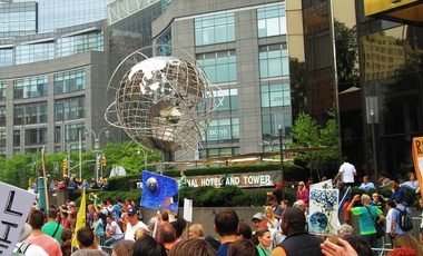 The 2014 People's Climate Change March on August 21, 2014 at the Trump International Hotel and Tower at 1 Central Park West at West 61st Street in the Upper West Side neighborhood of Manhattan, New York City.