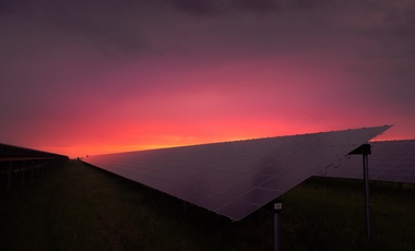 Solar panels at sunrise.