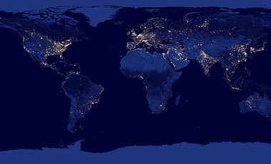 Earth at night, 2012. People around the world depend upon electric lighting. Generating electricity using increased amounts of non-fossil fuels is critical to slowing climate change.