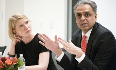 Ambassador Syed Akbaruddin (R) discusses India's diplomatic role. Moderator: Cathryn Clüver (L)
