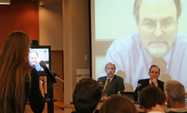 New York Times reporter Matthew Wald in videoconference with Belfer Center's Matthew Bunn (left) and ABC's Ned Potter discussing media and energy coverage