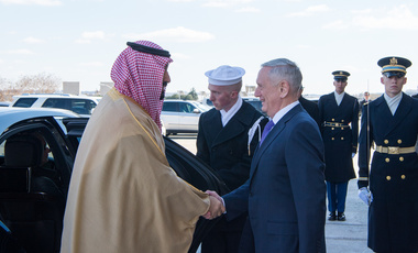 Defense Secretary Jim Mattis greets Deputy Crown Price of Saudi Arabia Mohammad bin Salman Al Saud