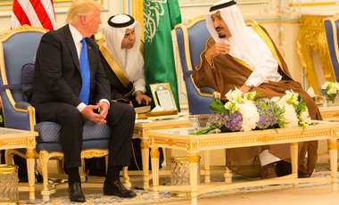 President Donald Trump and King Salman bin Abdulaziz Al Saud of Saudi Arabia talk together during ceremonies, Saturday, May 20, 2017, at the Royal Court Palace in Riyadh, Saudi Arabia.