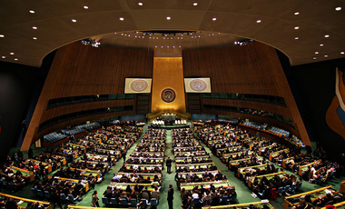 United Nations General Assembly Hall in the UN Headquarters, New York.