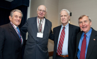 Wise Counsel: Paul Volcker (2nd from left), with (l to r) Robert Belfer, James Schlesinger, and Graham Allison.