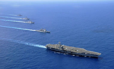 USS Nimitz, USS Chosin, USS Sampson, and USS Pinkney in South China Sea.