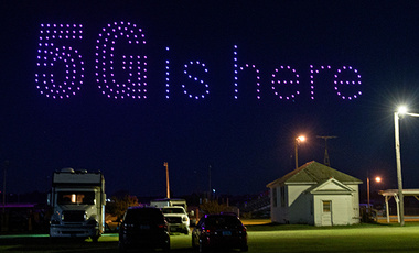 T-Mobile used 300 drones to light up the sky over Lisbon, ND on Sunday, August 2, 2020, celebrating the expansion of its 5G network to hundreds of small towns across America.