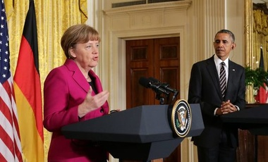 Chancellor of Germany Angela Merkel speaks at a joint news conference at the White House in February