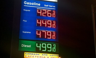 The gas and diesel prices of the Chevron filling station outside of MIA on April 16, 2011.