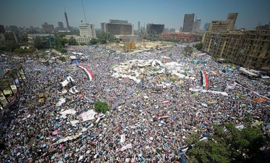 Protestors in Tahrir Square, Egypt.
