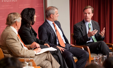 "Nicholas Burns (right) makes a point  during the ""9/11: Ten Years On"" forum. The panel included (from left): moderator Graham Allison, Juliette Kayyem and Michael Leiter."