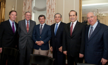 Turkish Foreign Minister Ahmet Davutoglu (3rd from left) following his presentation at opening of Crown-Belfer Middle East Seminar Series. Left to right:Nicholas Burns, Lester Crown, Davutoglu, Robert Belfer, Namik Tan, and Shai Feldman.