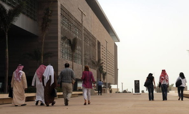 Staff members and students walk on campus at the King Abdullah University of Science and Technology (KAUST) on October 13, 2009, in Thuwal, 80 kilometers north of Jeddah.