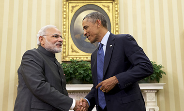 "President Barack Obama shakes hands with Indian Prime Minister Narendra Modi, Tuesday, Sept. 30, 2014, in the Oval Office  of the White House in Washington. President Barack Obama and India's new Prime Minister Narendra Modi said Tuesday that ""it is time"