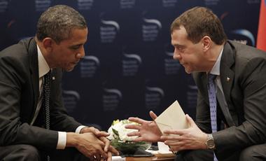 US President Barack Obama, left, during a bilateral meeting with Russian President Dmitry Medvedev, right, in Seoul, South Korea, Monday, March, 26, 2012.