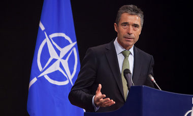 NATO Secretary General Anders Fogh Rasmussen at press conference in Brussels, Belgium - 19 Apr 2012