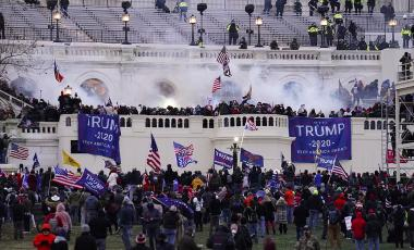 n this Jan. 6, 2021, file photo violent rioters, loyal to President Donald Trump, storm the Capitol in Washington.