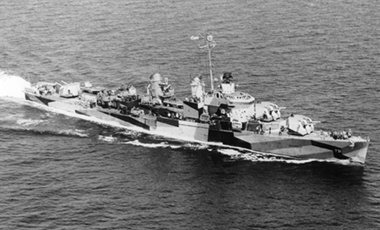 The U.S. Navy destroyer USS Maddox, which was attacked by North Vietnamese torpedoes and gunfire off Vietnam in the Gulf of Tonkin incident, August 1964.